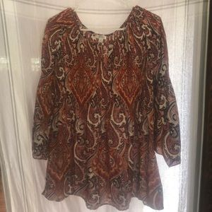 Macy's Blouse Spense brand multi paisley color